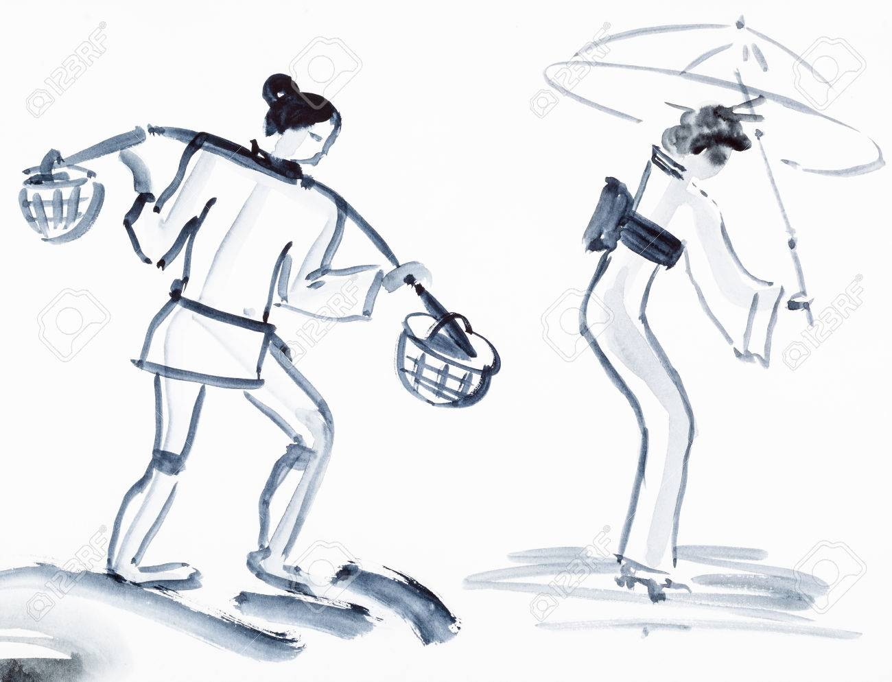 Stock photo training drawing in suibokuga style with watercolor paints sketches of peasant with yoke and japanese woman with umbrella on white paper