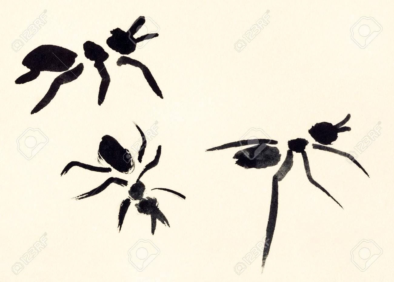 Dessin Dentraînement Dans Le Style Sumi E De Suibokuga Avec Des Peintures à Laquarelle Trois Fourmis Peintes à La Main Sur Du Papier De Couleur