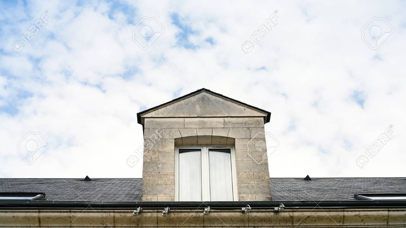 Stock Photo - travel to France - window in attic on roof of house in Orleans city & Travel To France - Window In Attic On Roof Of House In Orleans ...