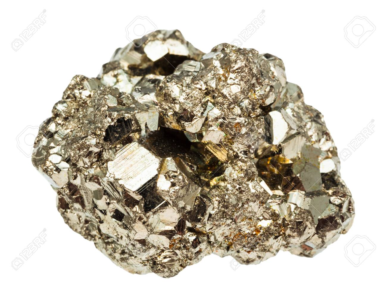 macro shooting of natural rock specimen - raw iron pyrite (fool's gold) stone isolated on white background - 102894685