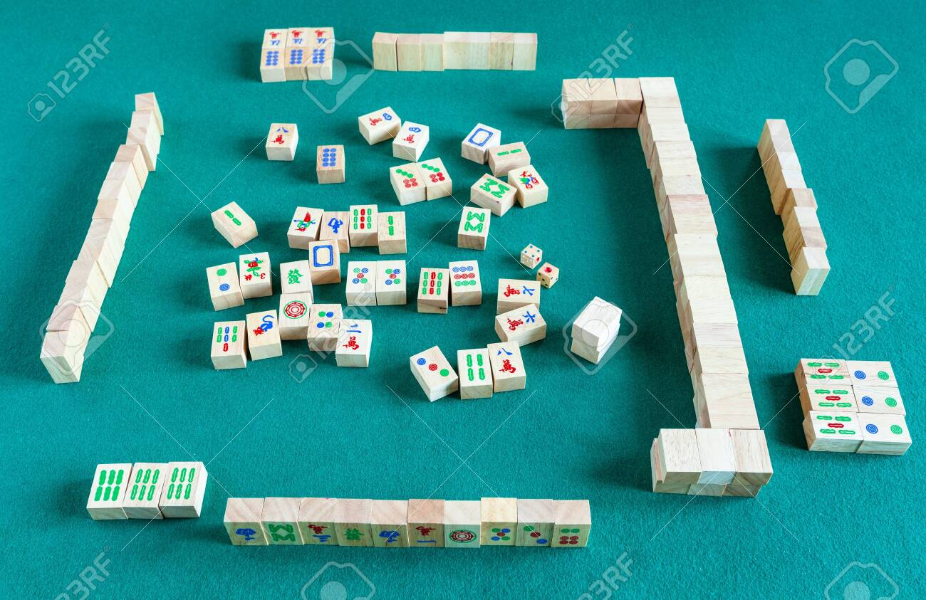 Above View Of Gameboard Of Mahjong Game Tile Based Chinese Strategy