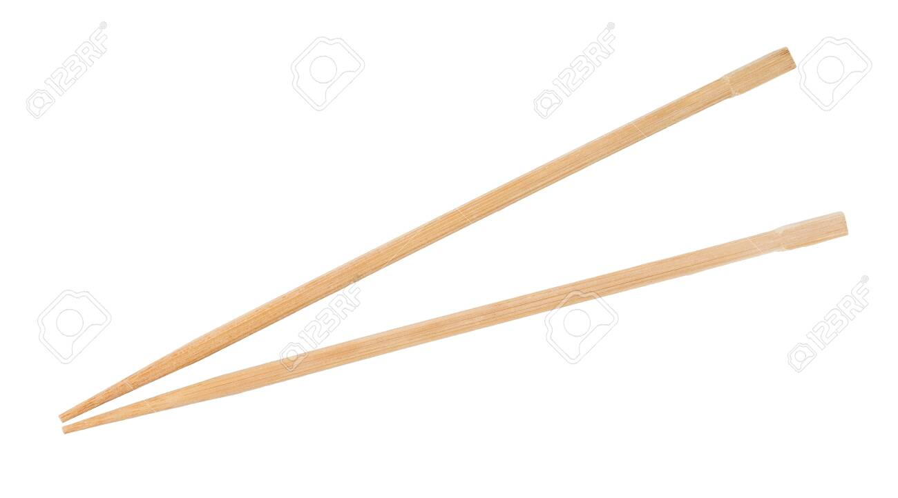 Disposable beech wooden chopsticks isolated on white - 122798354