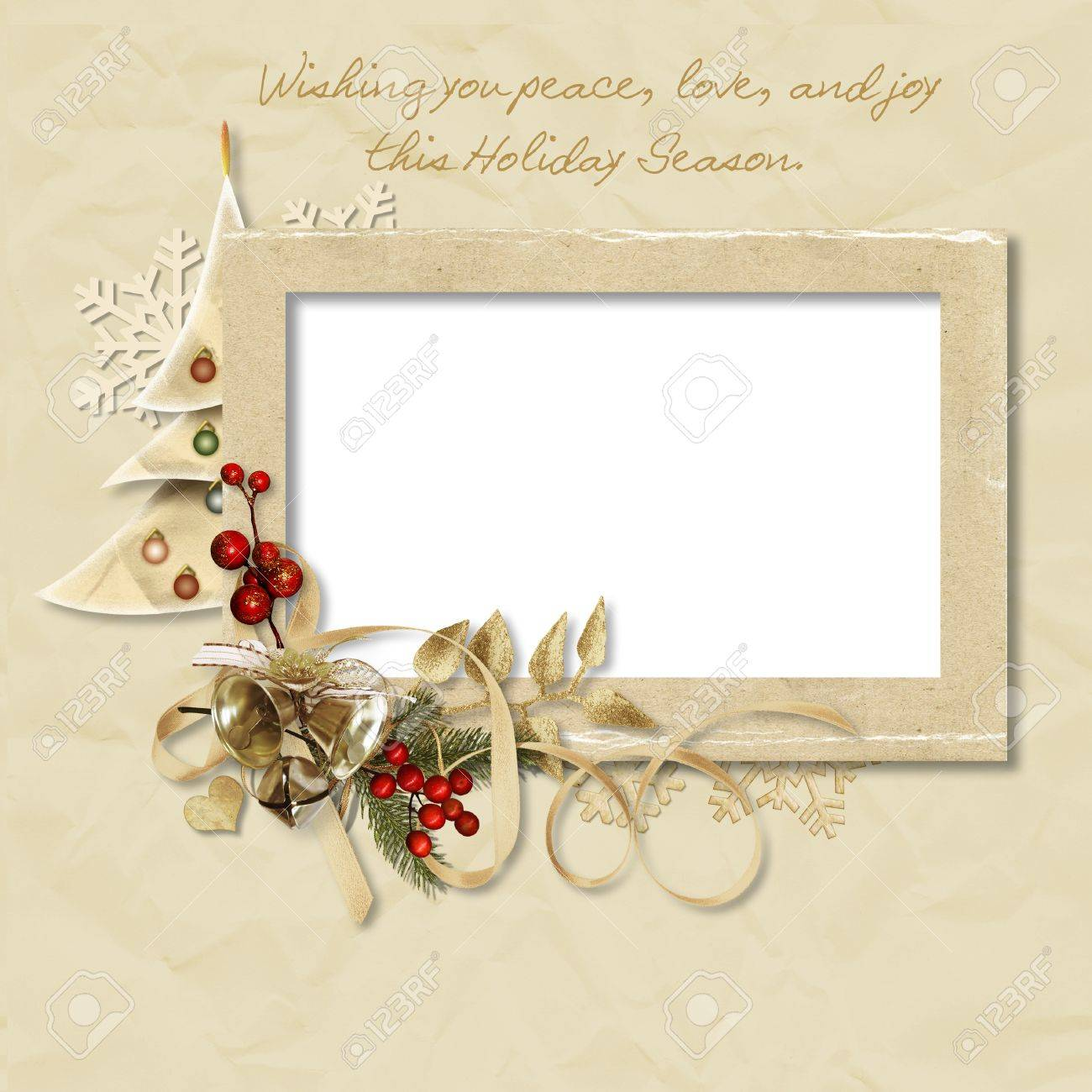 Vintage Christmas frame with the wishes Stock Photo - 16133031