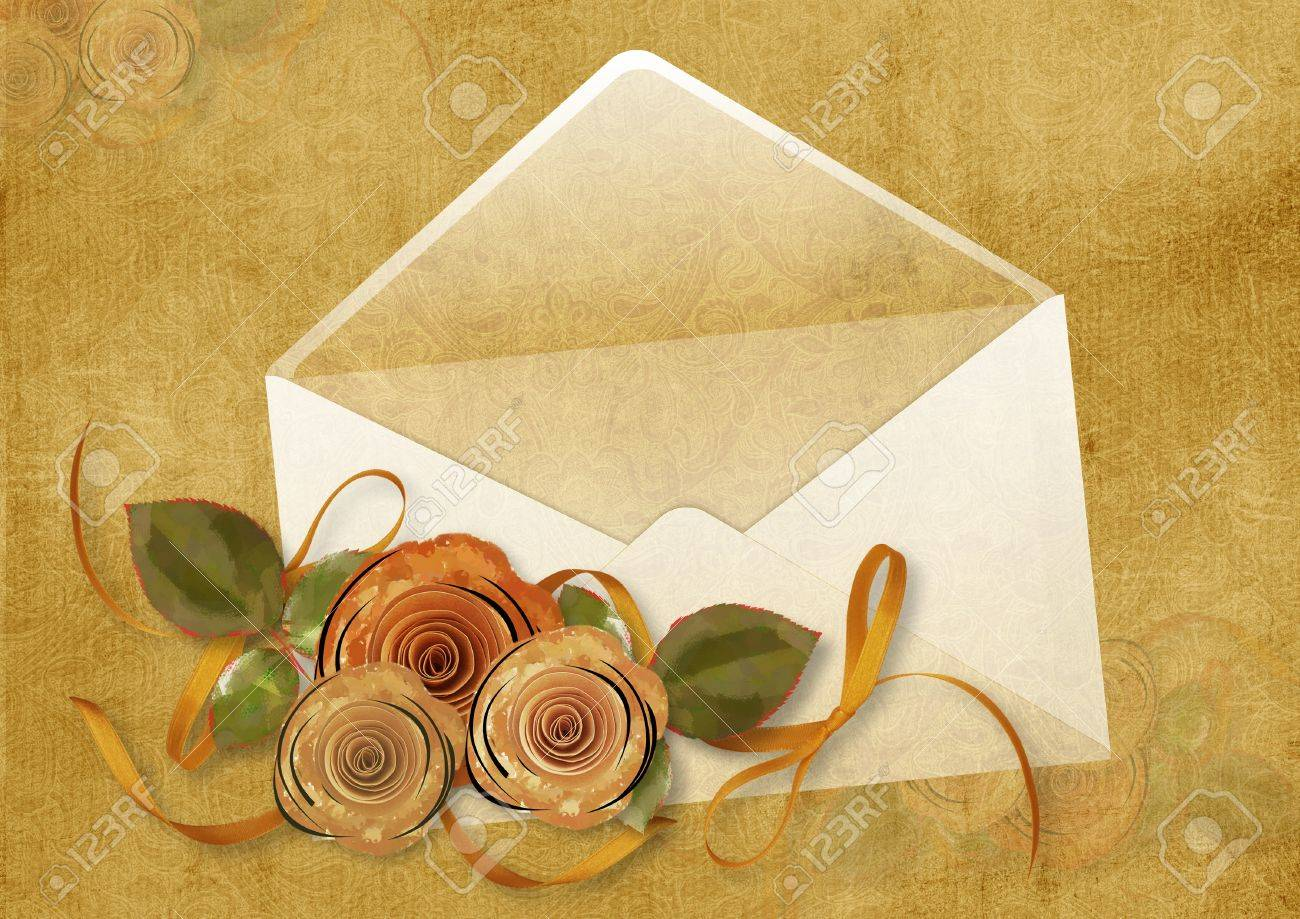 Vintage background with envelope and roses Stock Photo - 16528786