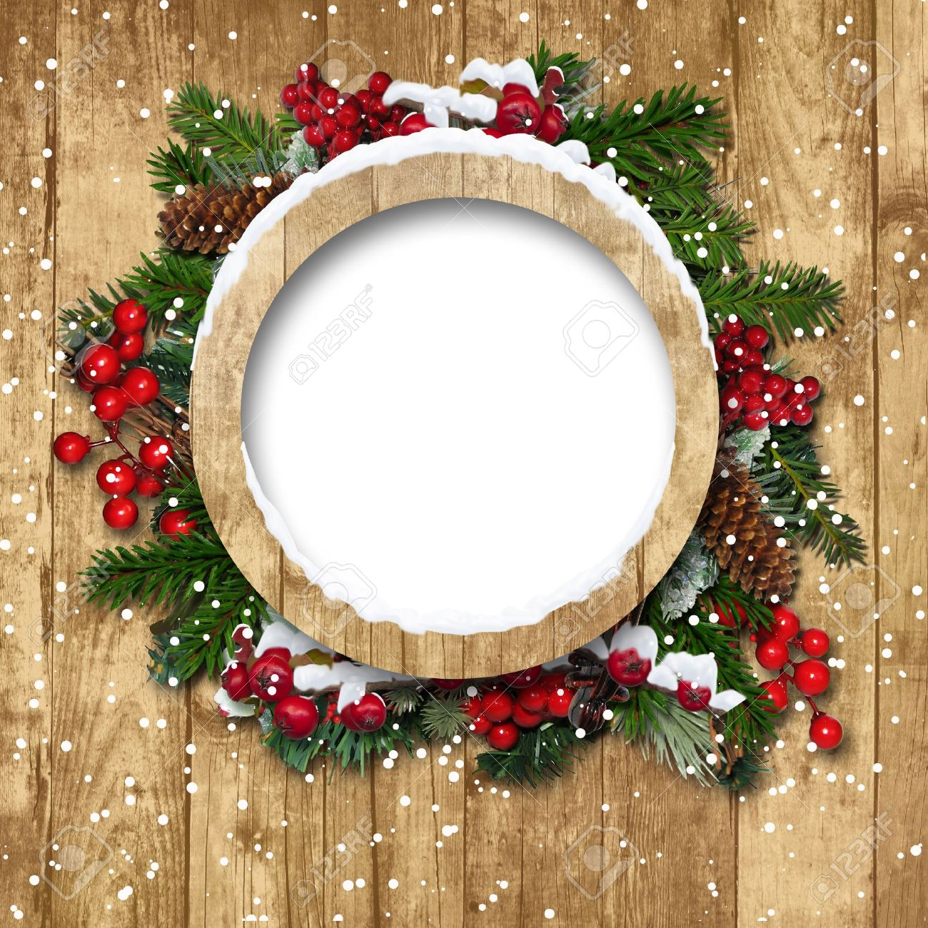 Vintage Christmas frame with decorations on a wooden background Stock Photo - 16674807