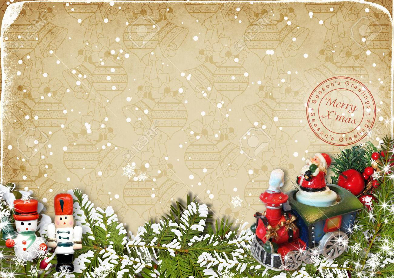 Merry Christmas Card With Vintage Christmas Decorations