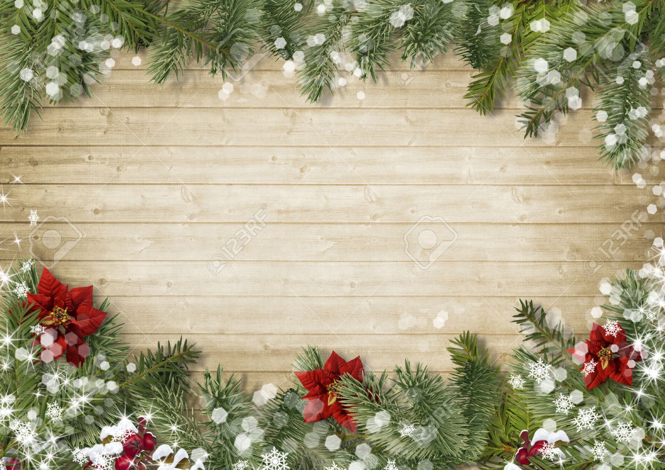 christmas border with poinsettia on old wood background stock photo 32811736
