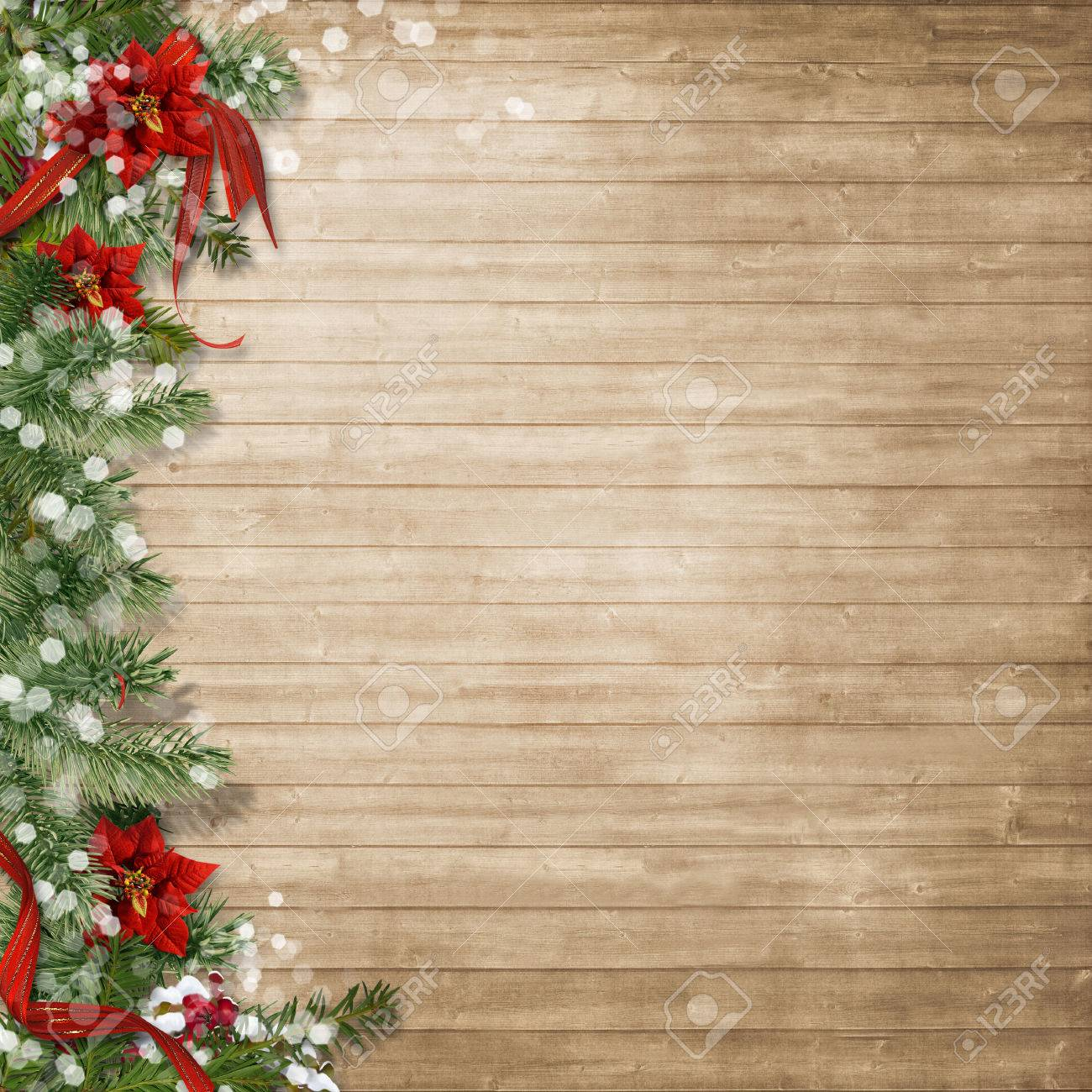 Christmas Wood Background.Christmas Wood Background With Poinsettia And Firtree