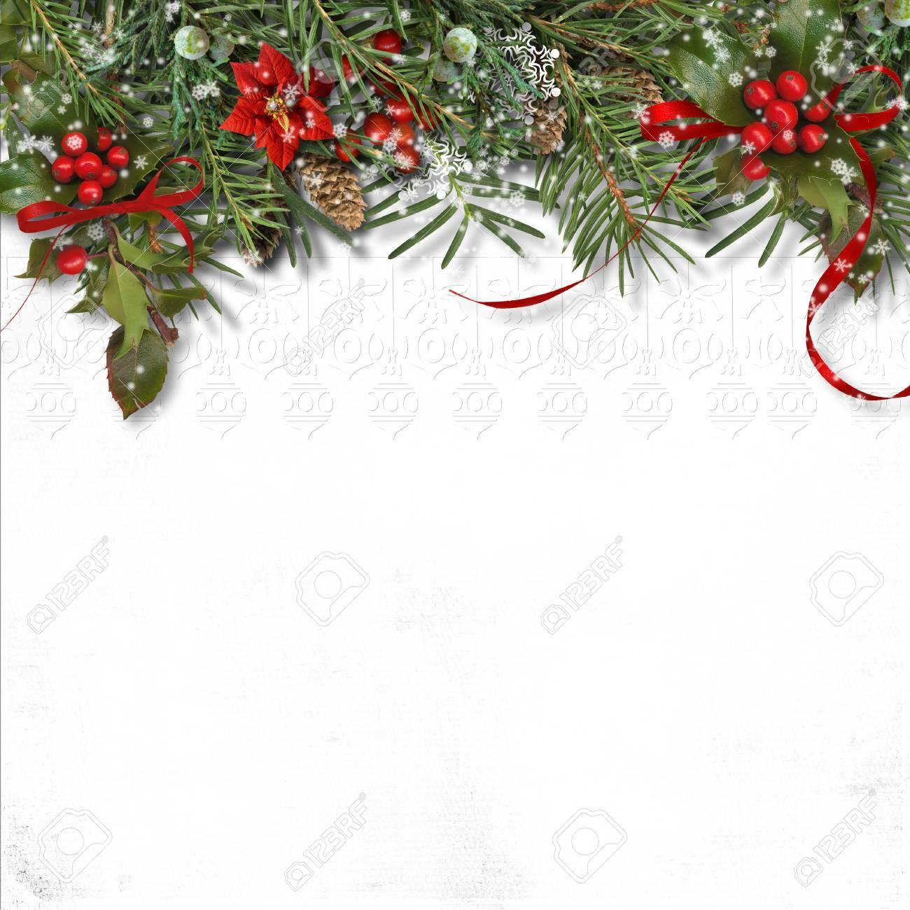 Stella Di Natale Bianca.Bordo Di Natale Con L Abete L Agrifoglio E La Stella Di Natale Su Priorita Bassa Bianca