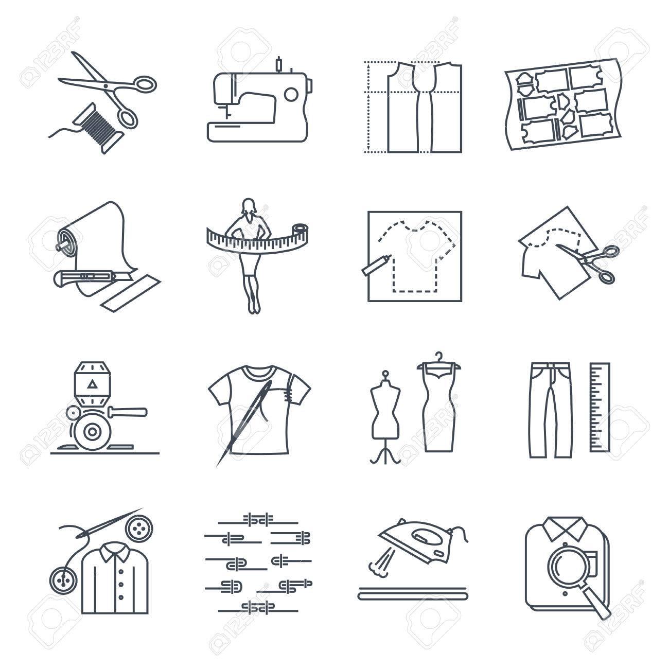 Conjunto De Iconos De Línea Fina Ropa, Ropa, Confección De Ropa ...