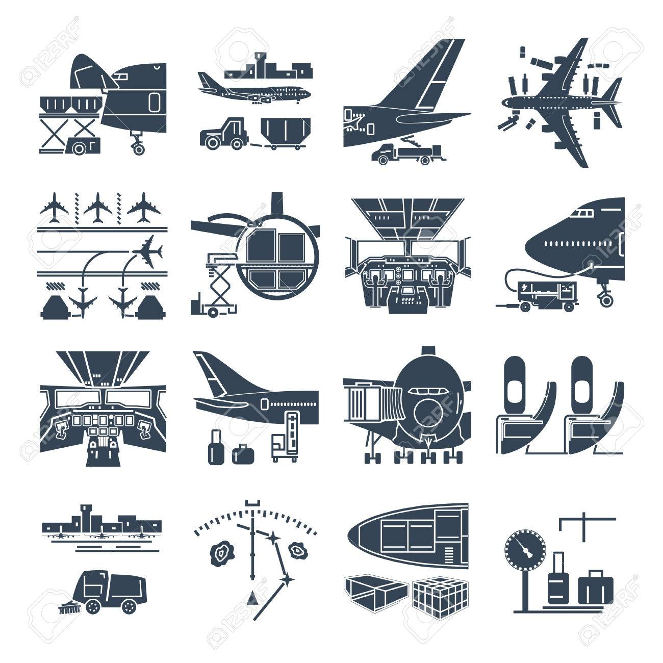 set of black icons airport and airplane, freight, cargo aircraft - 83097814