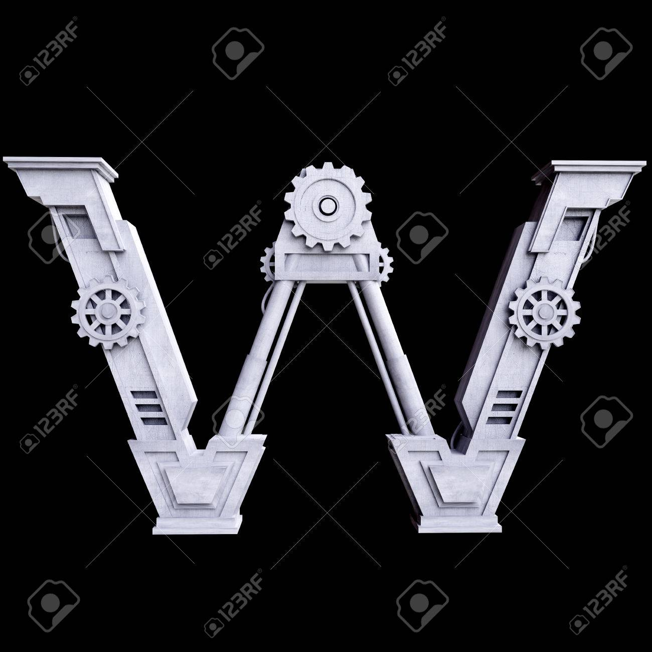 mechanical white letters scratched metal on black background letter w stock photo 32002230