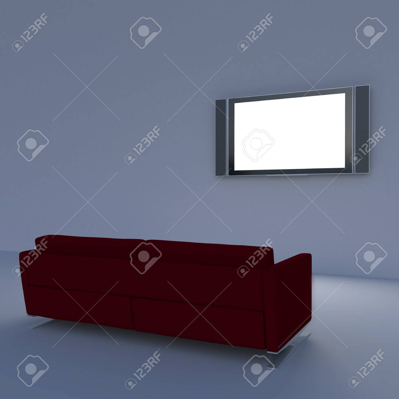 Red Sofa With A Flat Screen TV On The Wall Stock Photo   35861864