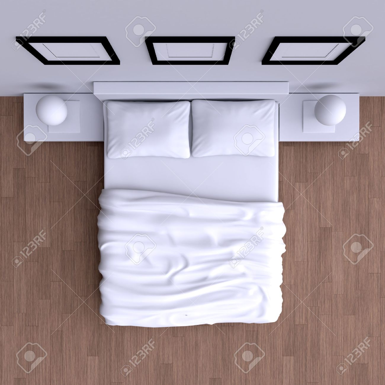 Double bed top view - Double Bed Bed With Pillows And A Blanket In The Corner Room 3d Illustration