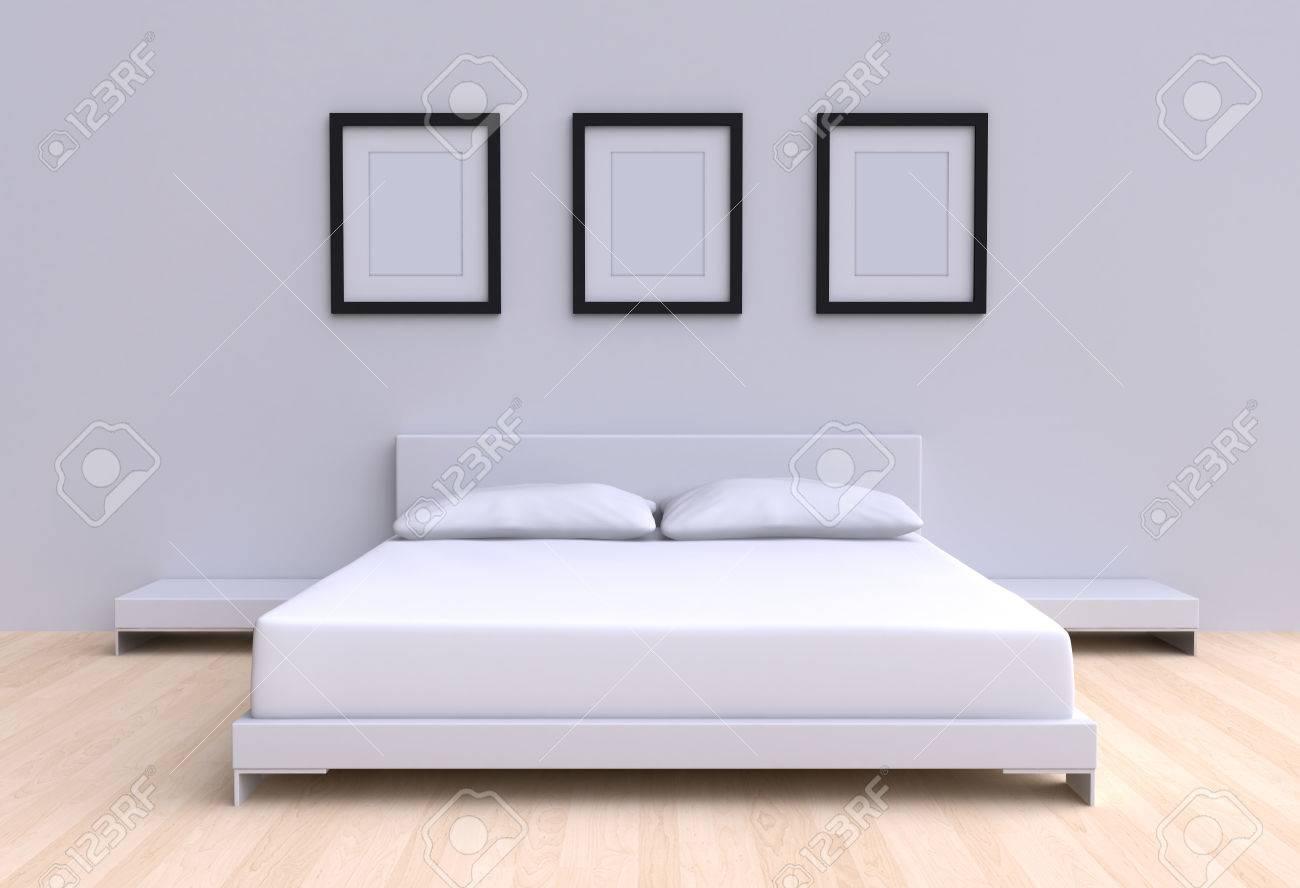 Moderne Bett Mit Zwei Kissen, Tische Und Drei Bilderrahmen Von Den Wänden  Des Raumes.