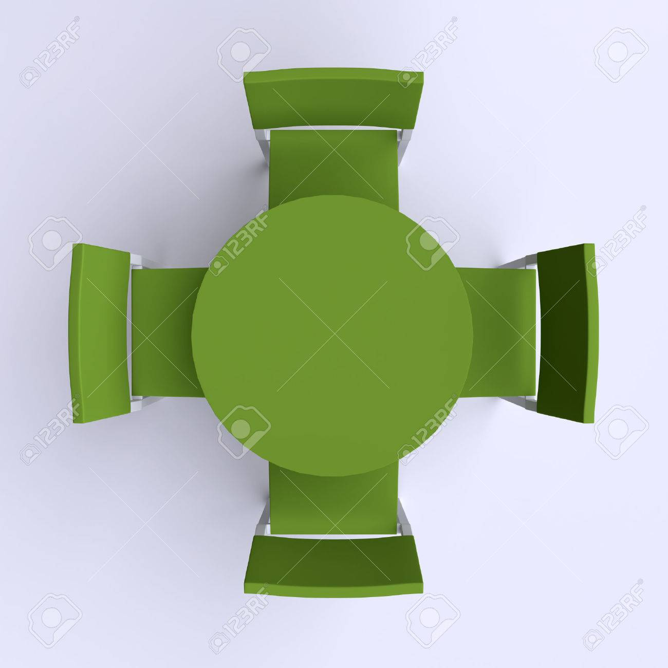 Round Table With Four Chairs Top View 3d Illustration Stock Photo