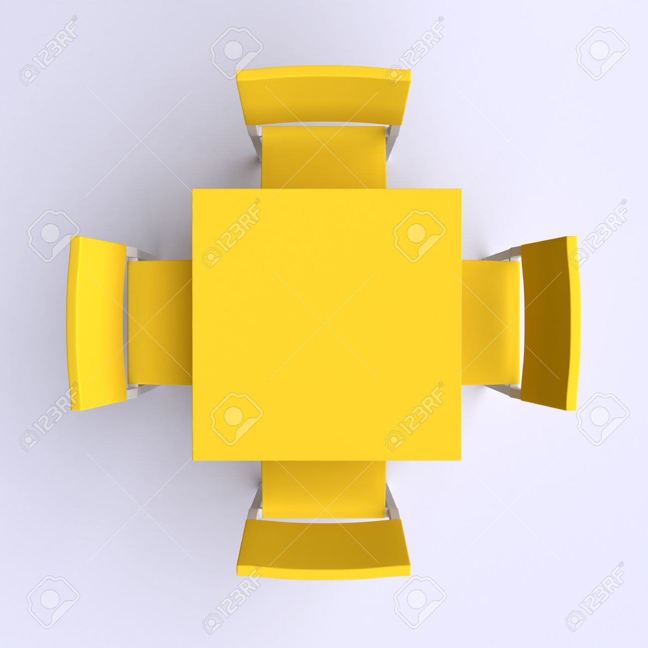 Square Table With Four Chairs Top View 3d Illustration Stock