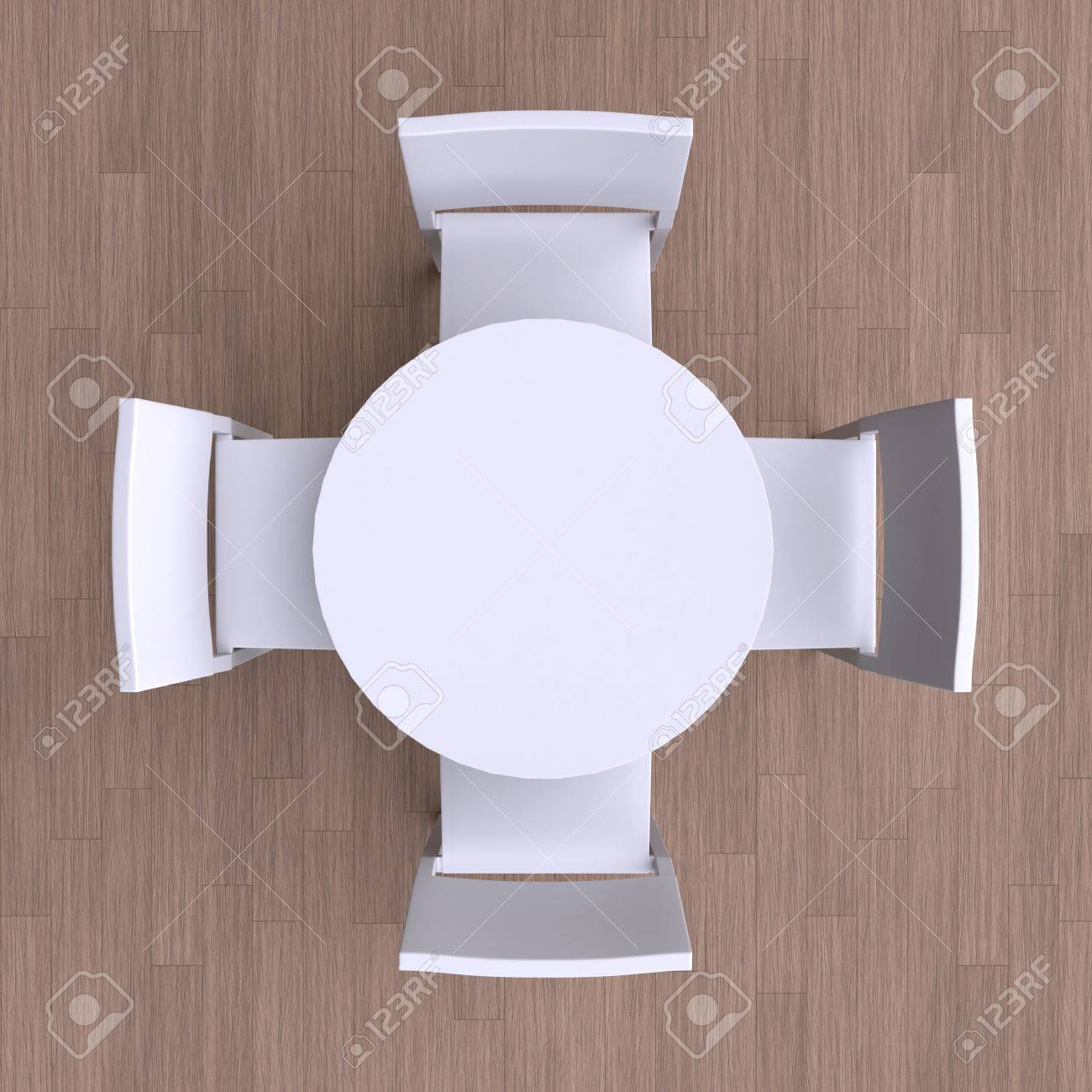 Quadratischen Tisch Mit Vier Stühlen. Draufsicht. 3D