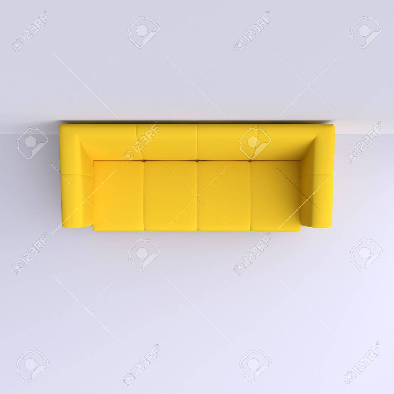 Simple Sofa In The Corner Of The Room Top View 3d Illustration