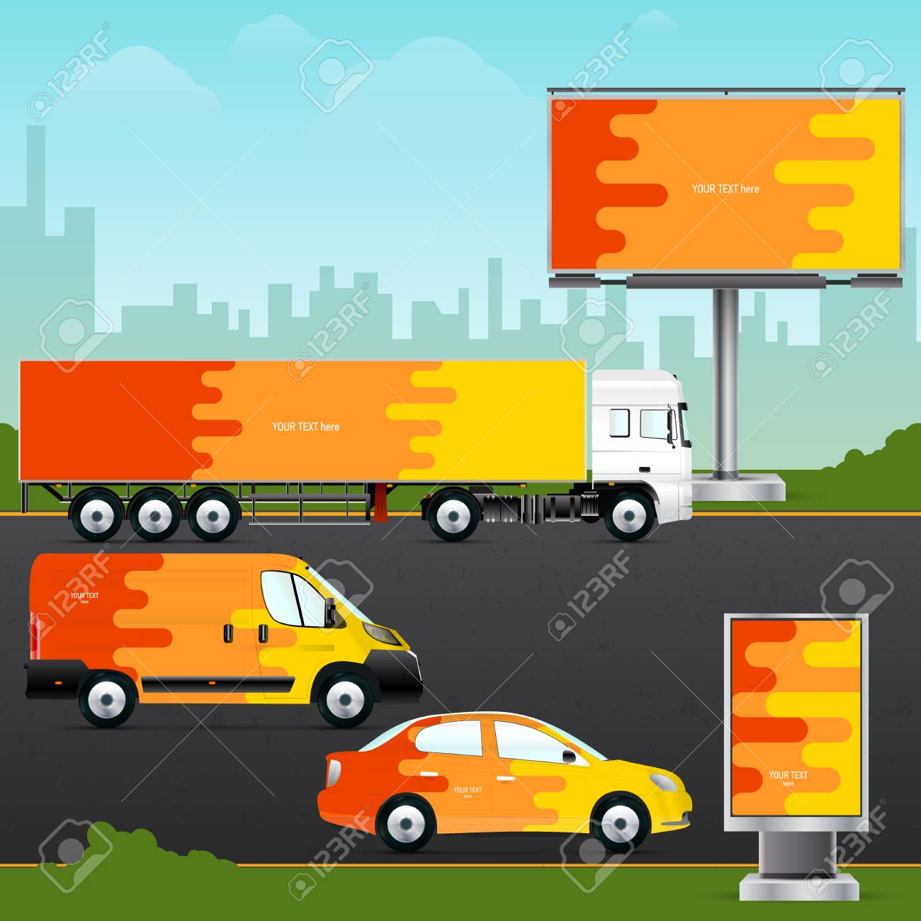 Template vehicle, outdoor advertising or corporate identity