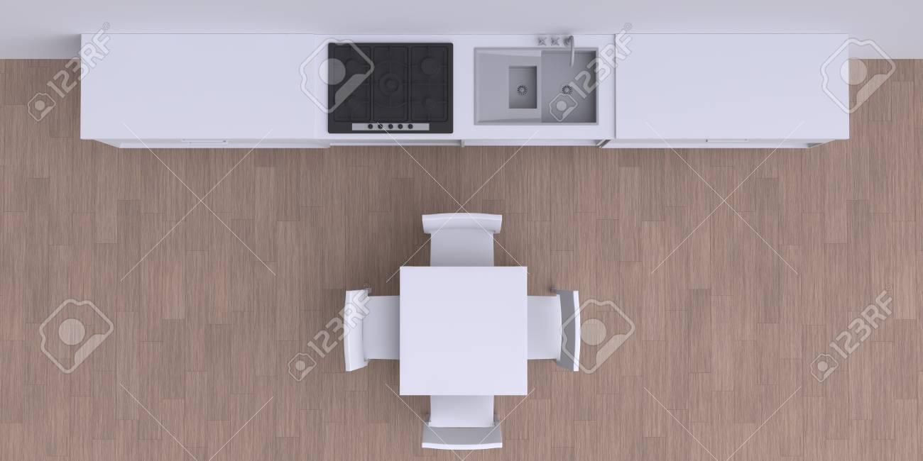 Muebles de cocina en la habitación de la esquina, ilustración 3d. Vista  superior.