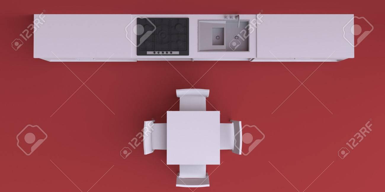 Muebles De Cocina En La Habitación De La Esquina, Ilustración 3d ...