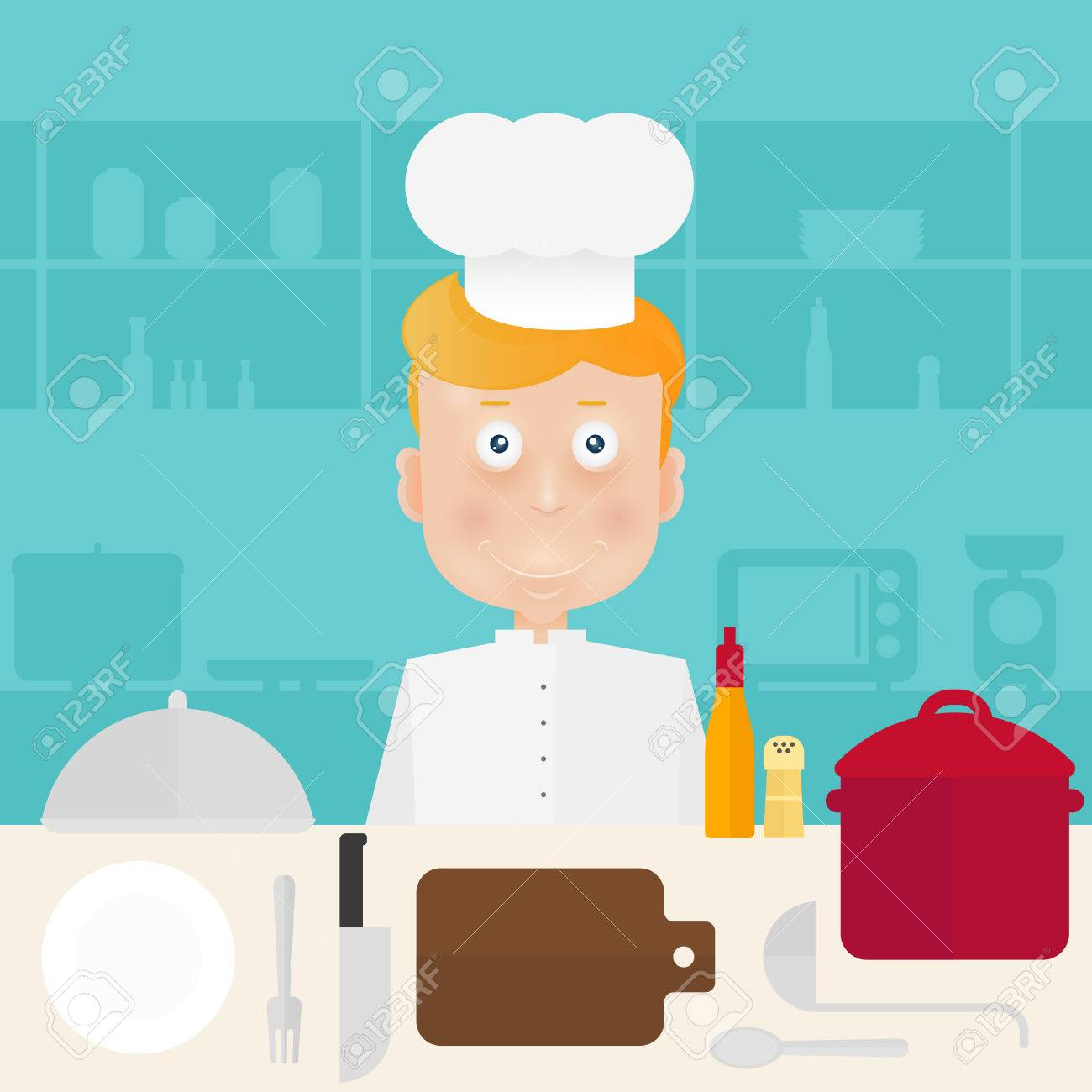 Chef In Bell On Kitchen. Royalty Free Cliparts, Vectors, And Stock ...