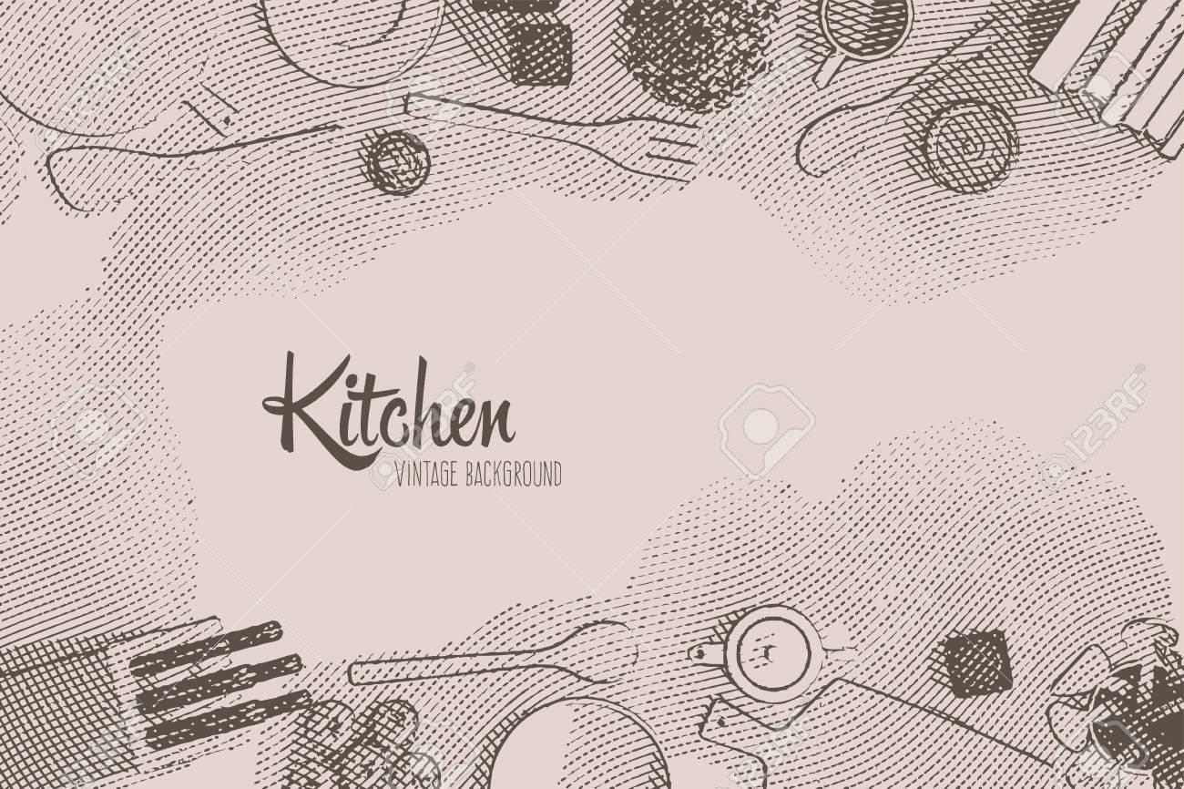 Retro Vintage-Hintergrund Mit Küchengeräten Und Werkzeugen In Gravur ...
