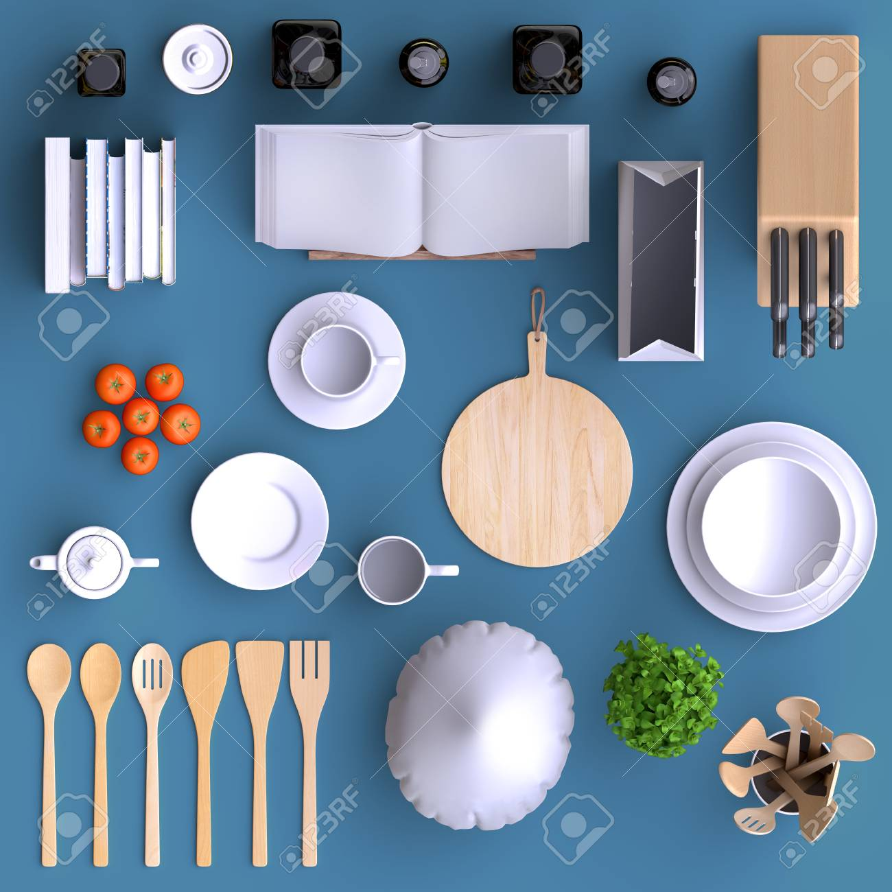 Branding Mock Up Kitchen With Table And Kitchenware Blank