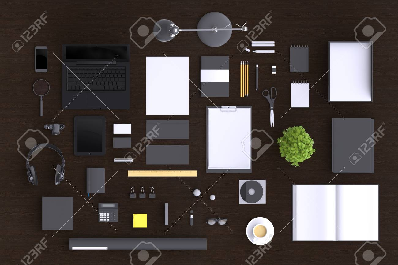 designer office desk isolated objects top view. Blank Office Objects Organized For Company Presentation Or Branding Identity With Modern Devices. Mockup Isolated On Clear Background. Top View. Designer Desk View S