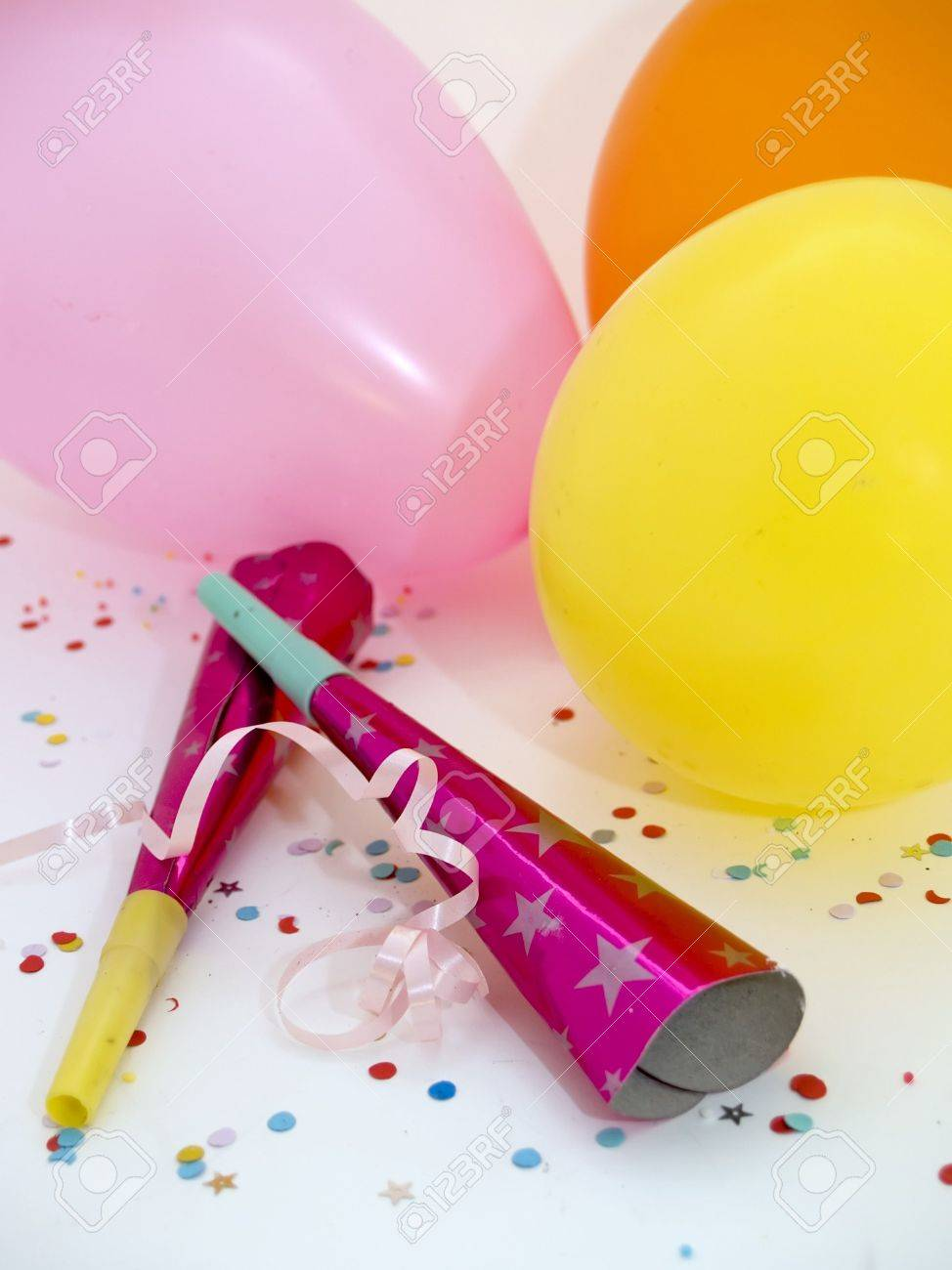 Balloons, noise makers and confetti Stock Photo - 387167