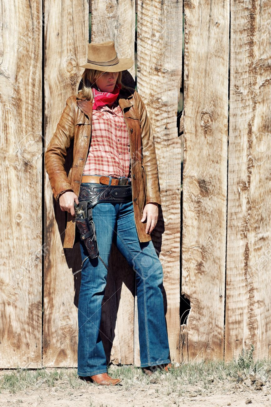 Cowgirl Western Movie Style Stock Photo