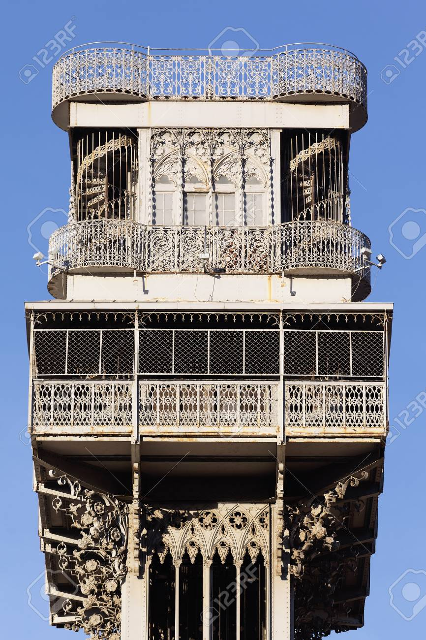 famous Santa Justa Elevator in Lisbon in summer, Portugal Stock Photo - 16919592