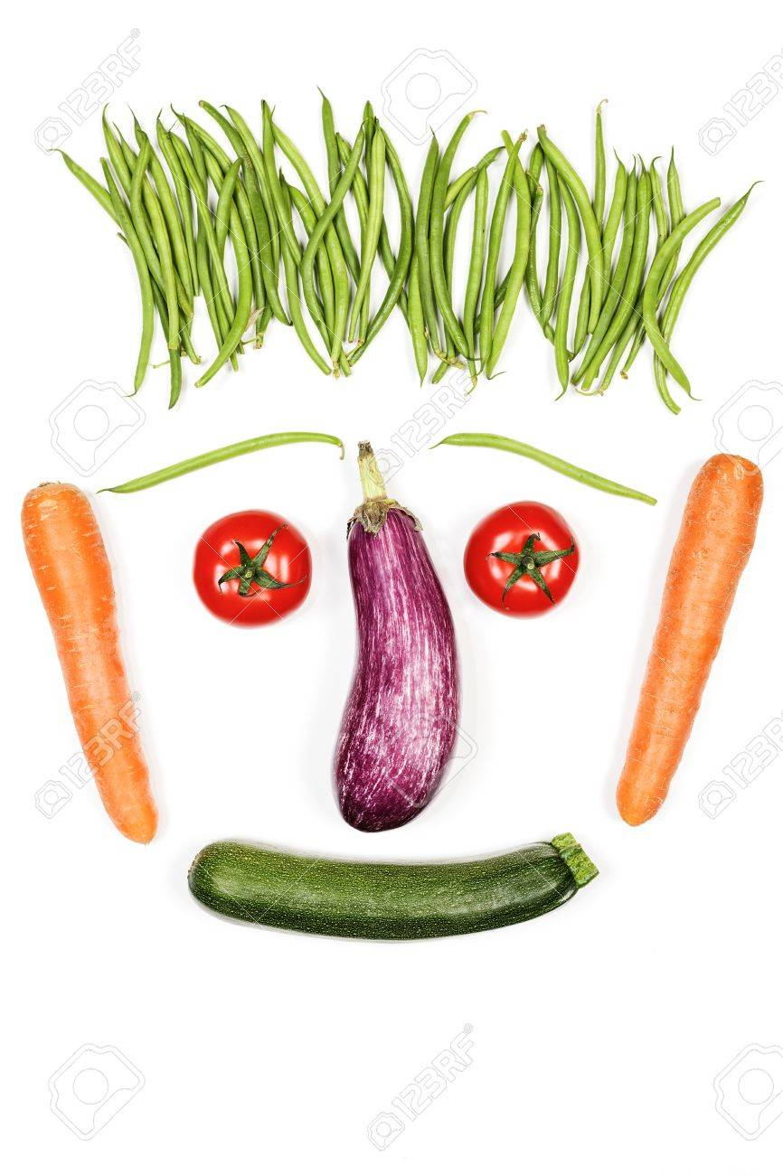 Happy Vegetables Face On White Background Stock Photo, Picture And ...
