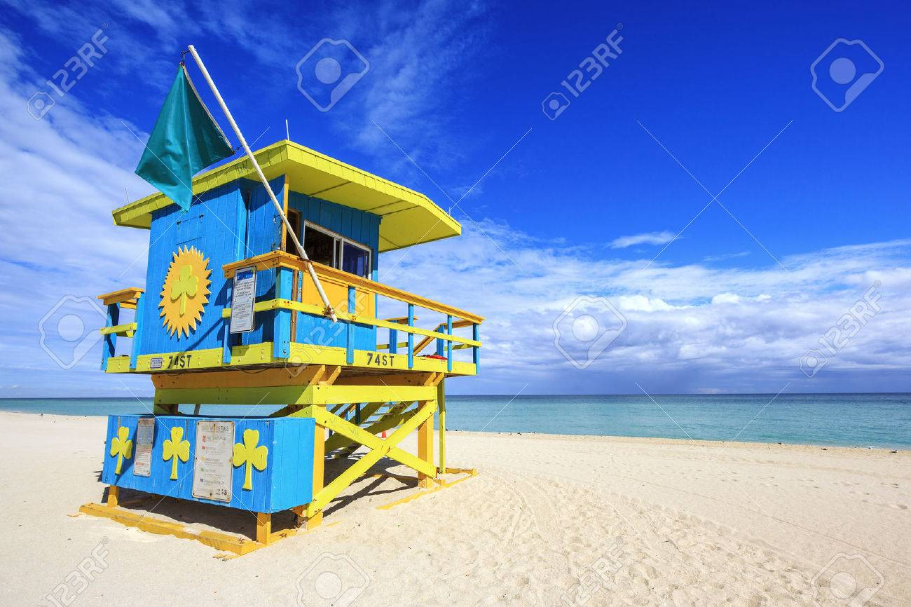 Miami Beach Florida, lifeguard house in a typical colorful Art Deco style - 25661656