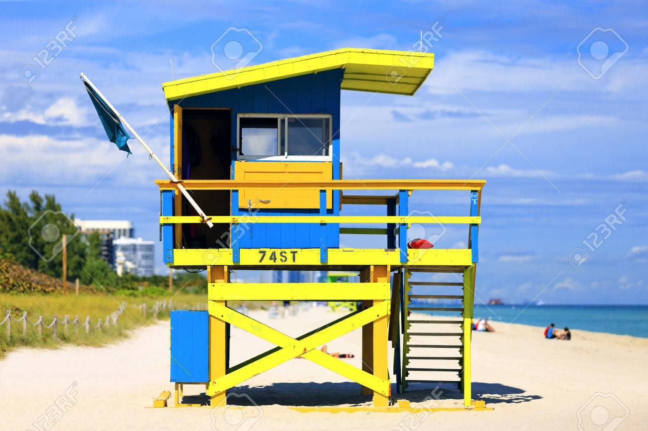 Miami beach florida famous lifeguard house in a typical colorful