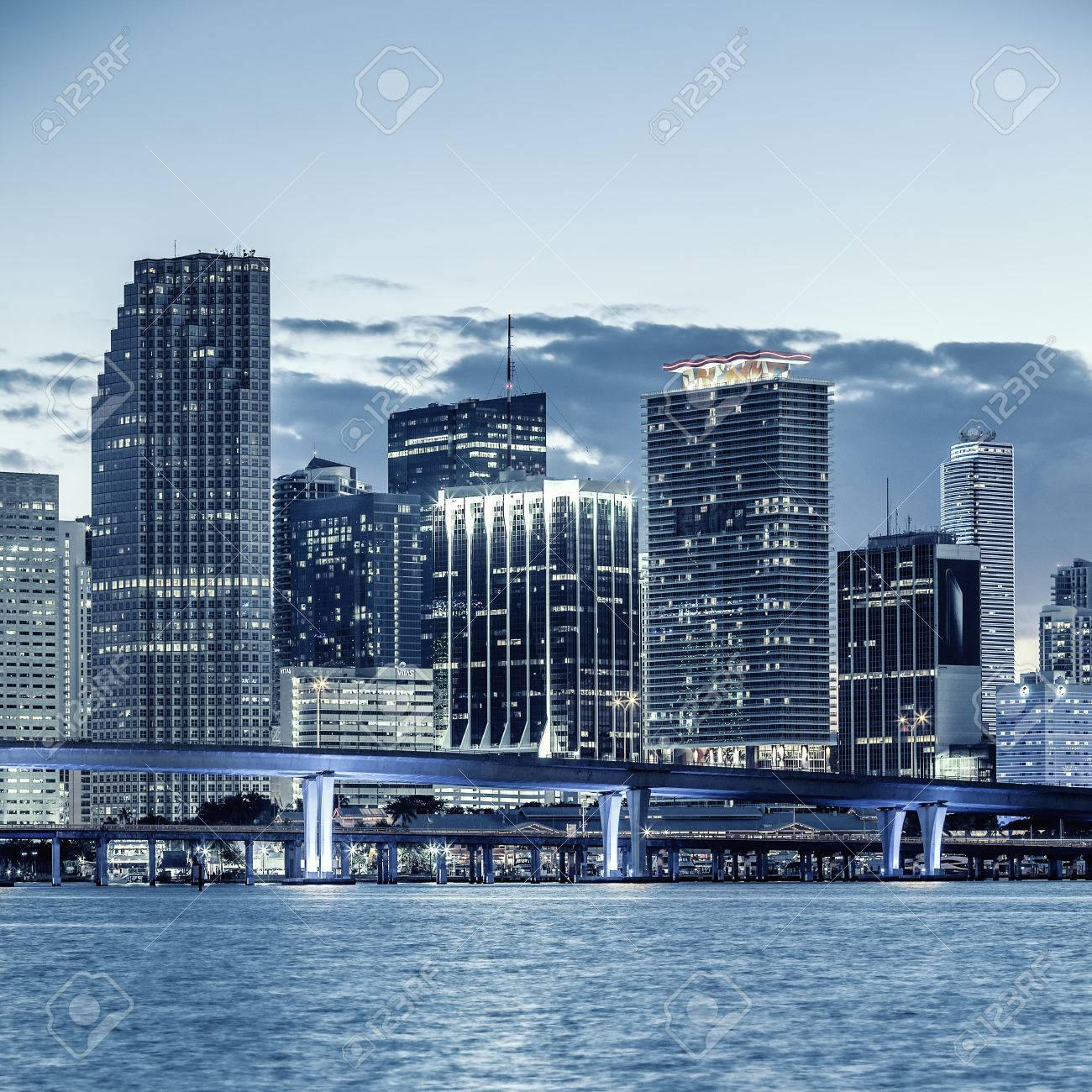 CIty of Miami Florida, business and residential buildings and bridge on Biscayne Bay - 28086625
