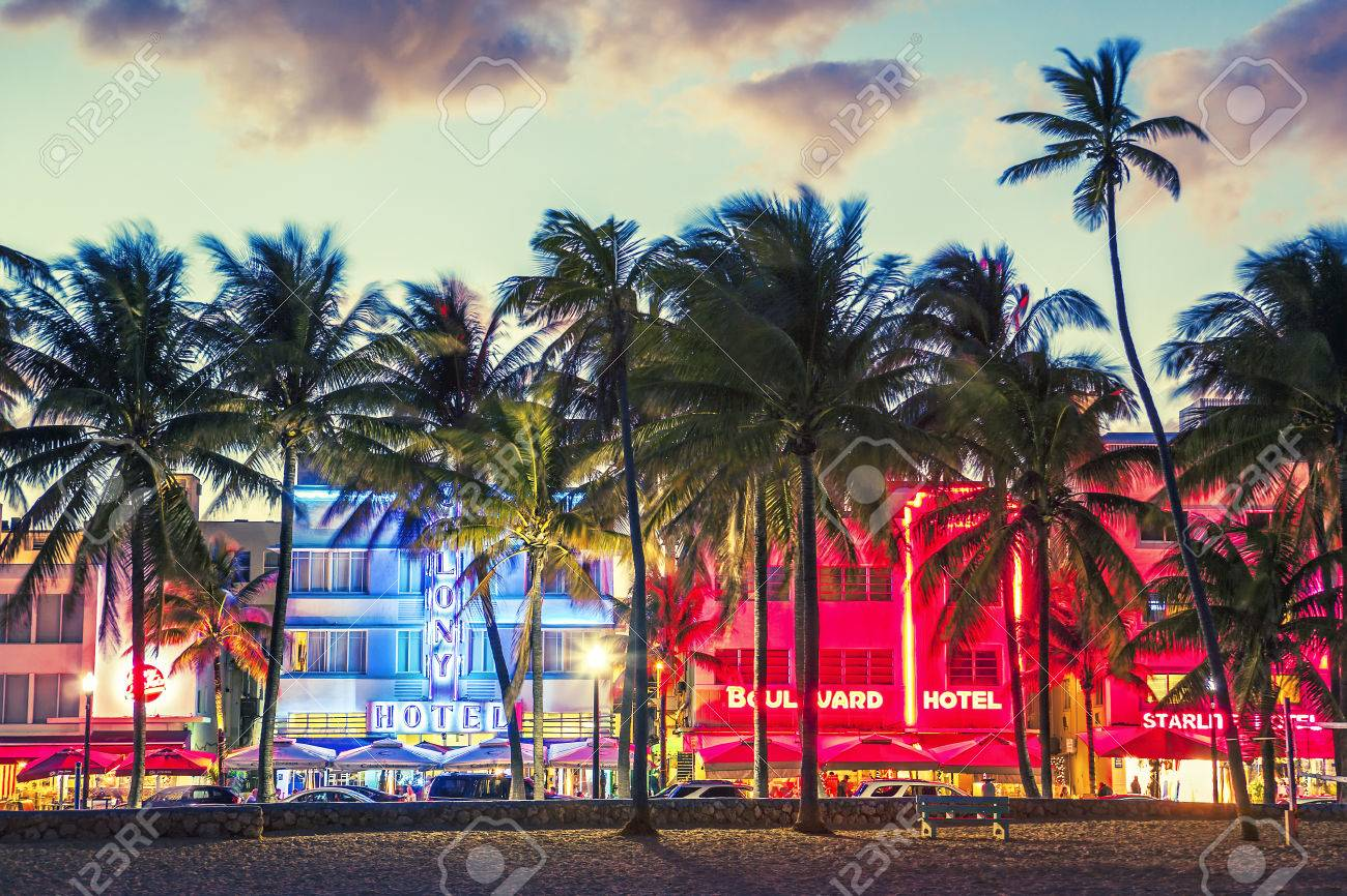 Miami Beach Florida Hotels And Restaurants At Sunset On Ocean