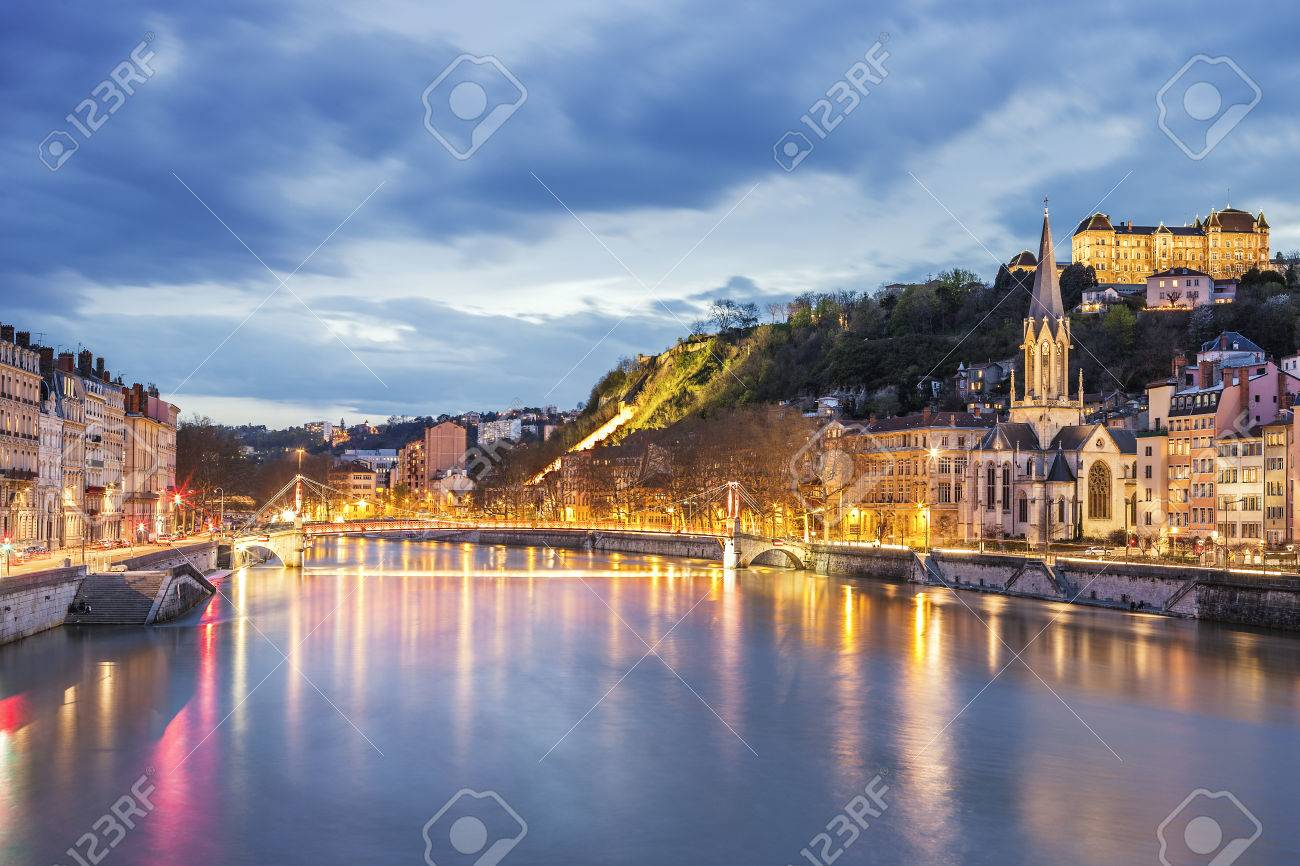 View of Saone river in Lyon city at evening, France - 28419359