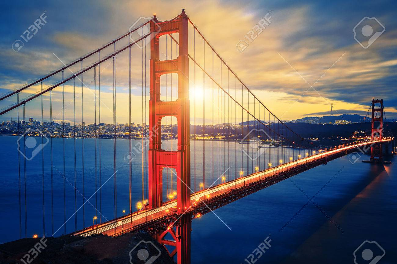 Famous Golden Gate Bridge at sunrise, San Francisco, USA - 29854374