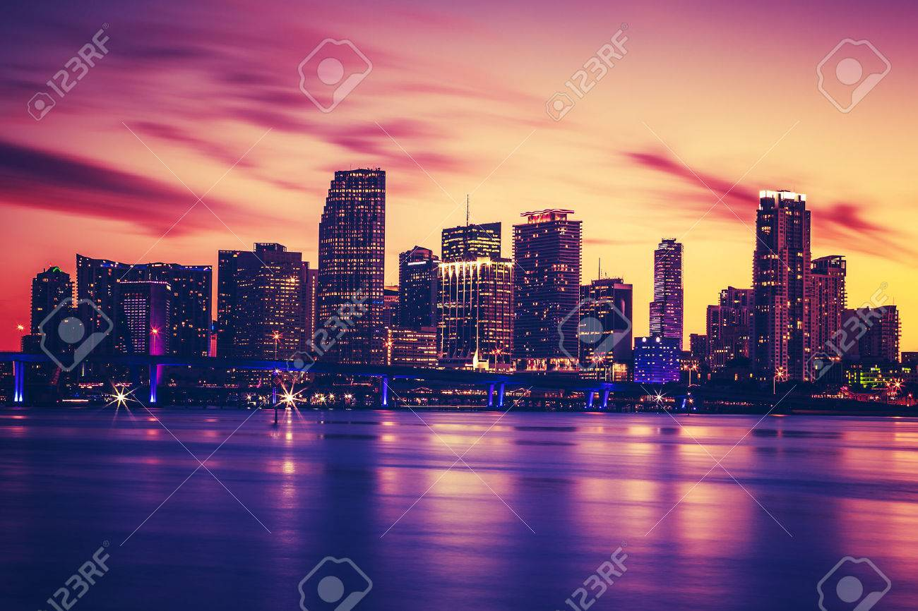 View of Miami at sunset, special photographic processing, USA - 31899179
