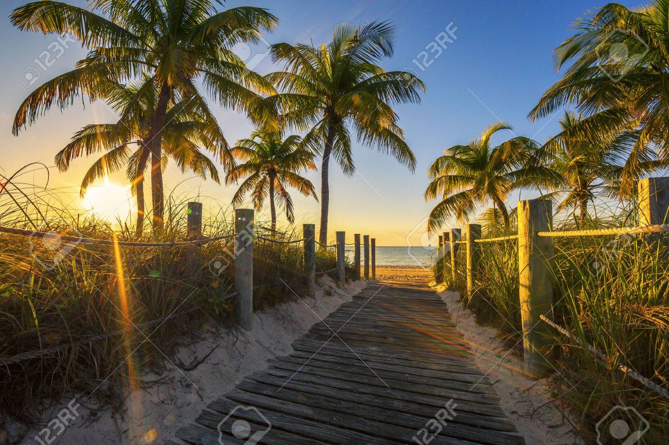 Passage to the beach at sunrise- Key West, USA - 32769788