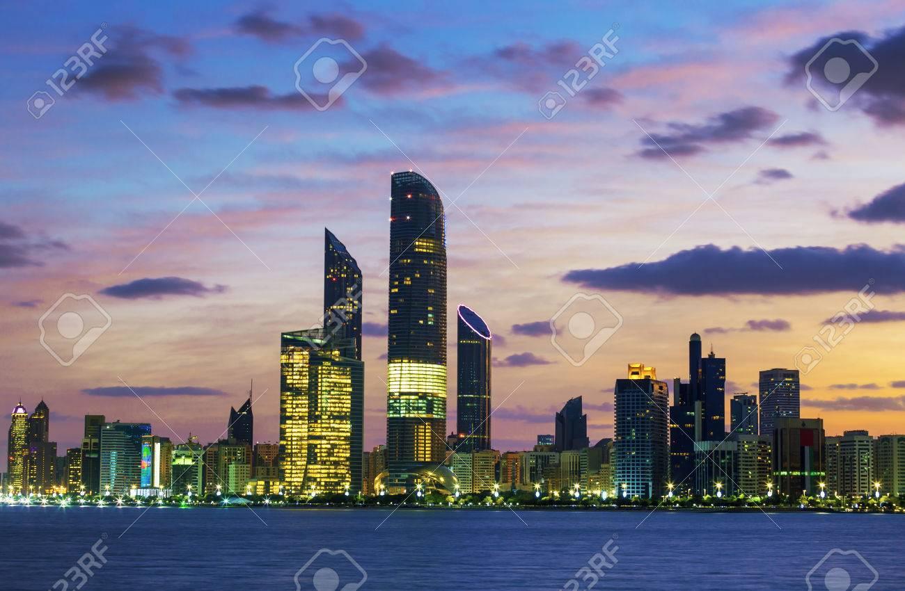 Abu Dhabi Skyline at sunset, United Arab Emirates - 34308342