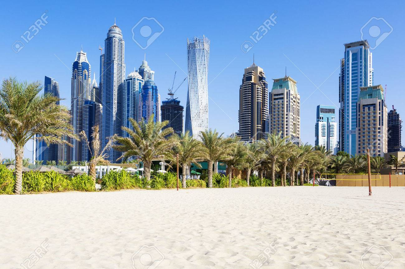 Horizontal view of skyscrapers and jumeirah beach in Dubai. UAE - 35143227
