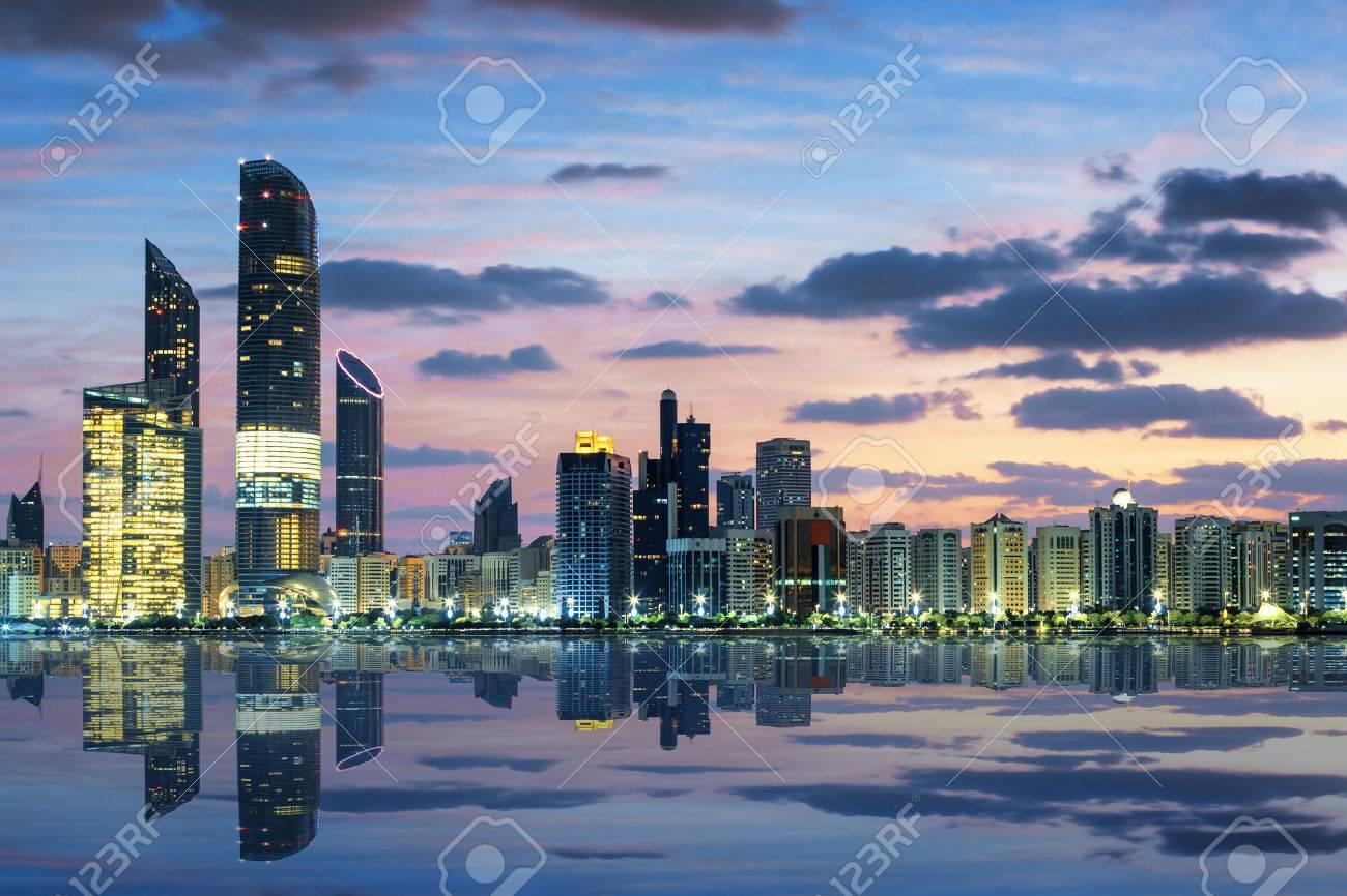 View of Abu Dhabi Skyline at sunset, United Arab Emirates - 35265310