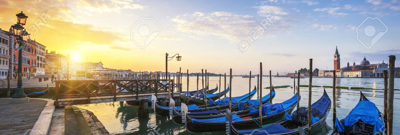 Sunrise over the Gran Canal, panoramic view, Venice, Italy - 36367060