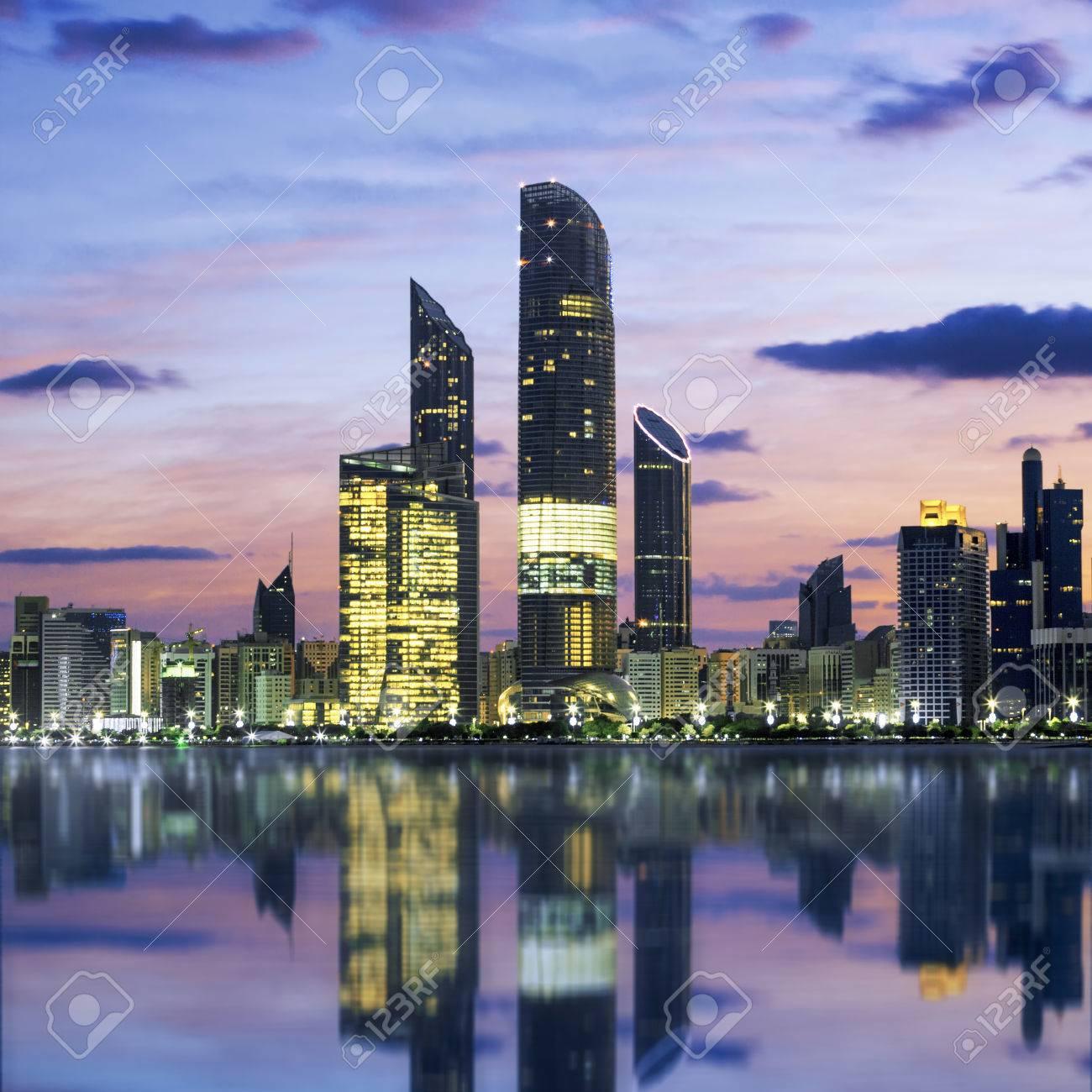 Abu Dhabi Skyline at sunset, United Arab Emirates - 36423282