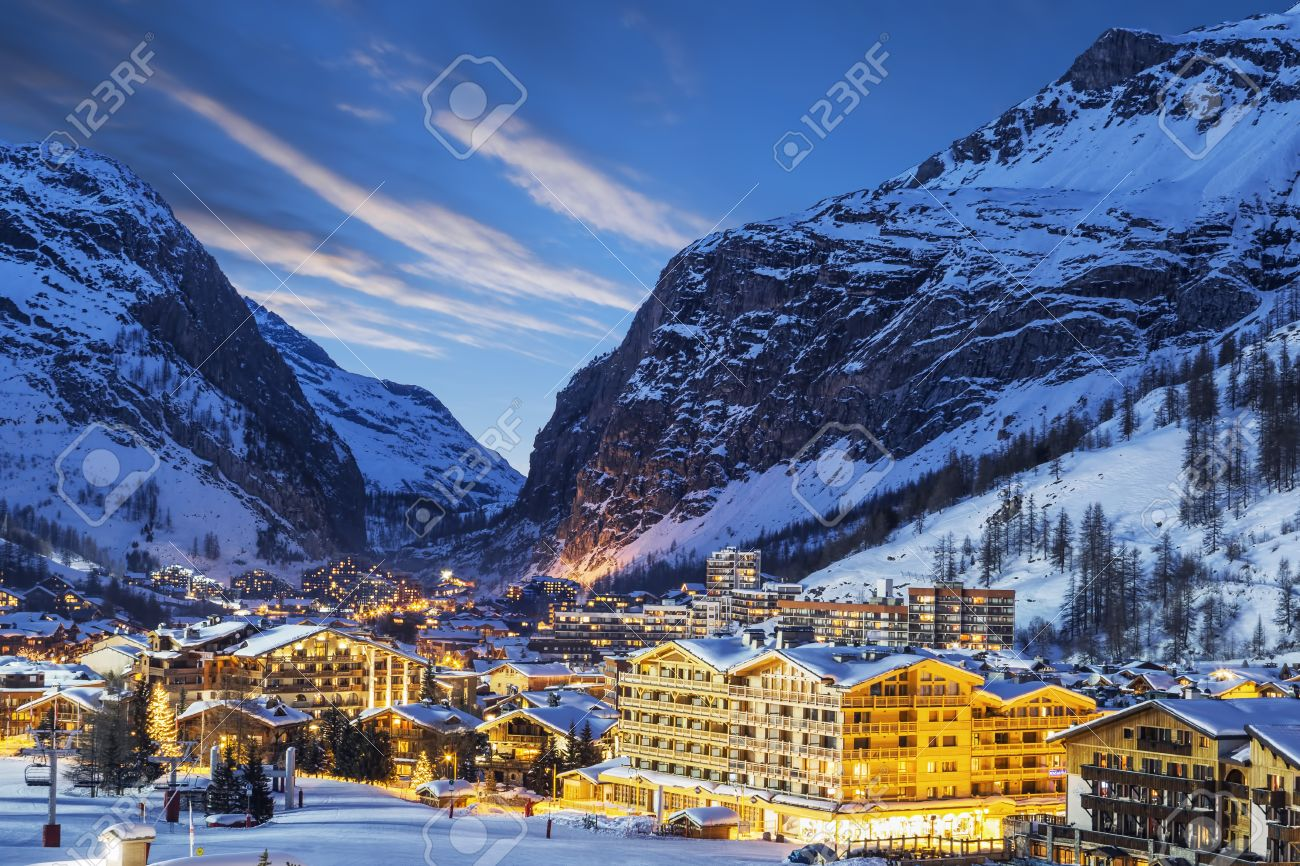 Evening landscape and ski resort in French Alps, Val d'Isere, France - 36665344