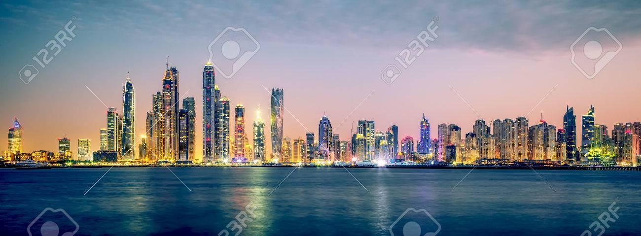 Panoramic view of Dubai, special photographic processing, UAE. - 37312969