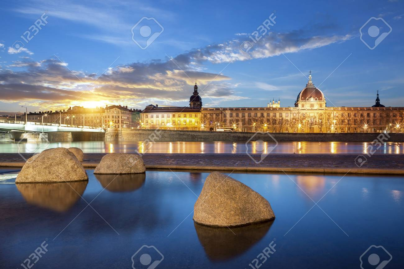View from Rhone river in Lyon city at sunset, France. - 37392304
